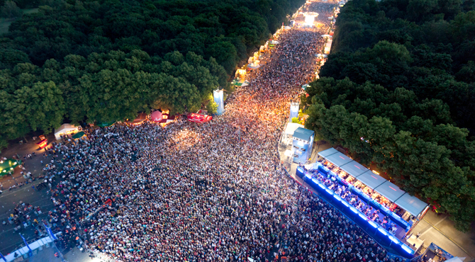 Football fans gather at Hyundai Fan Park Berlin