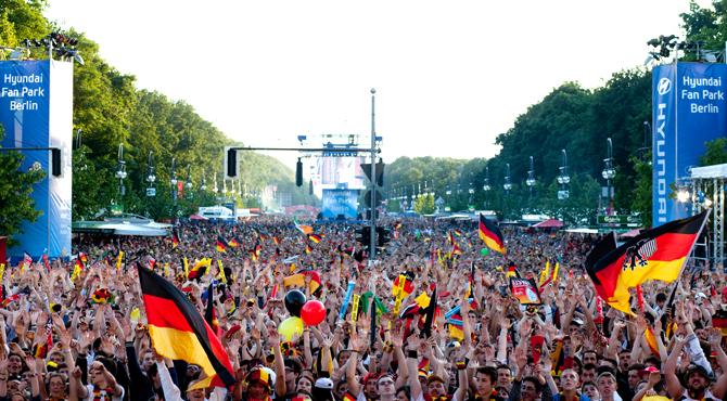 Crowds amassed at Hyundai Fan Park Berlin