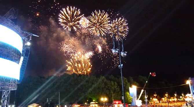 Fireworks at the Semi-finals; venue - Hyundai Fan Park Berlin