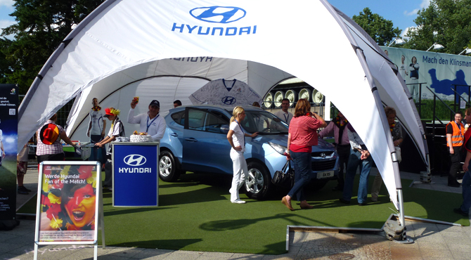 Promotion booth at Hyundai Fan Park Berlin