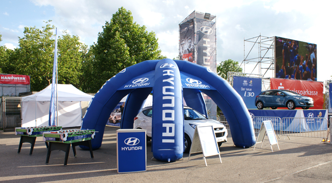 Commercial display at Hyundai Fan Park Heilbronn