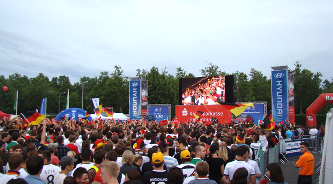 Fans enjoy game broadcast at Hyundai Fan Park Heilbronn