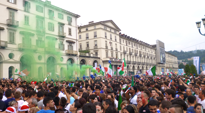 Fans celebrating with colors at Hyundai Fan Park Turin