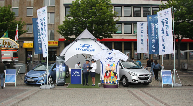 Display booth at Hyundai Fan Park Dortmund