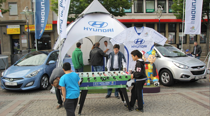 Engagement and display booth at Hyundai Fan Park Dortmund