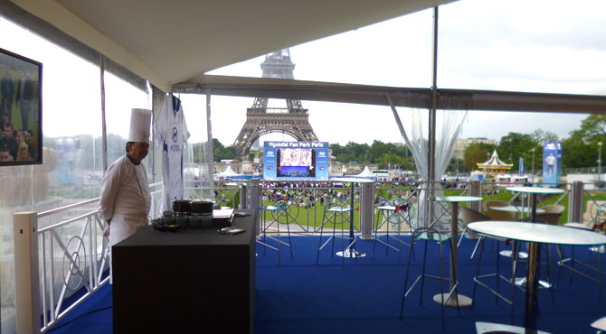 Hospitality area at Hyundai Fan Park Paris