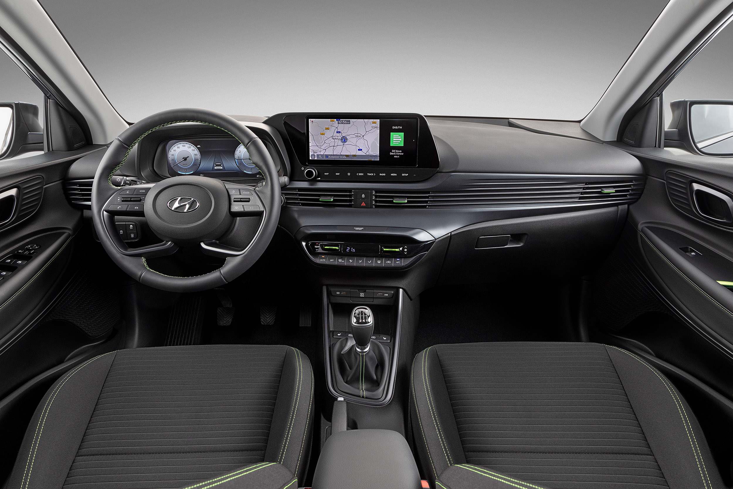 """The all-new i20 steering wheel, dashboard with 10.25"""" digital cluster and 10.25"""" AVN touchscreen"""