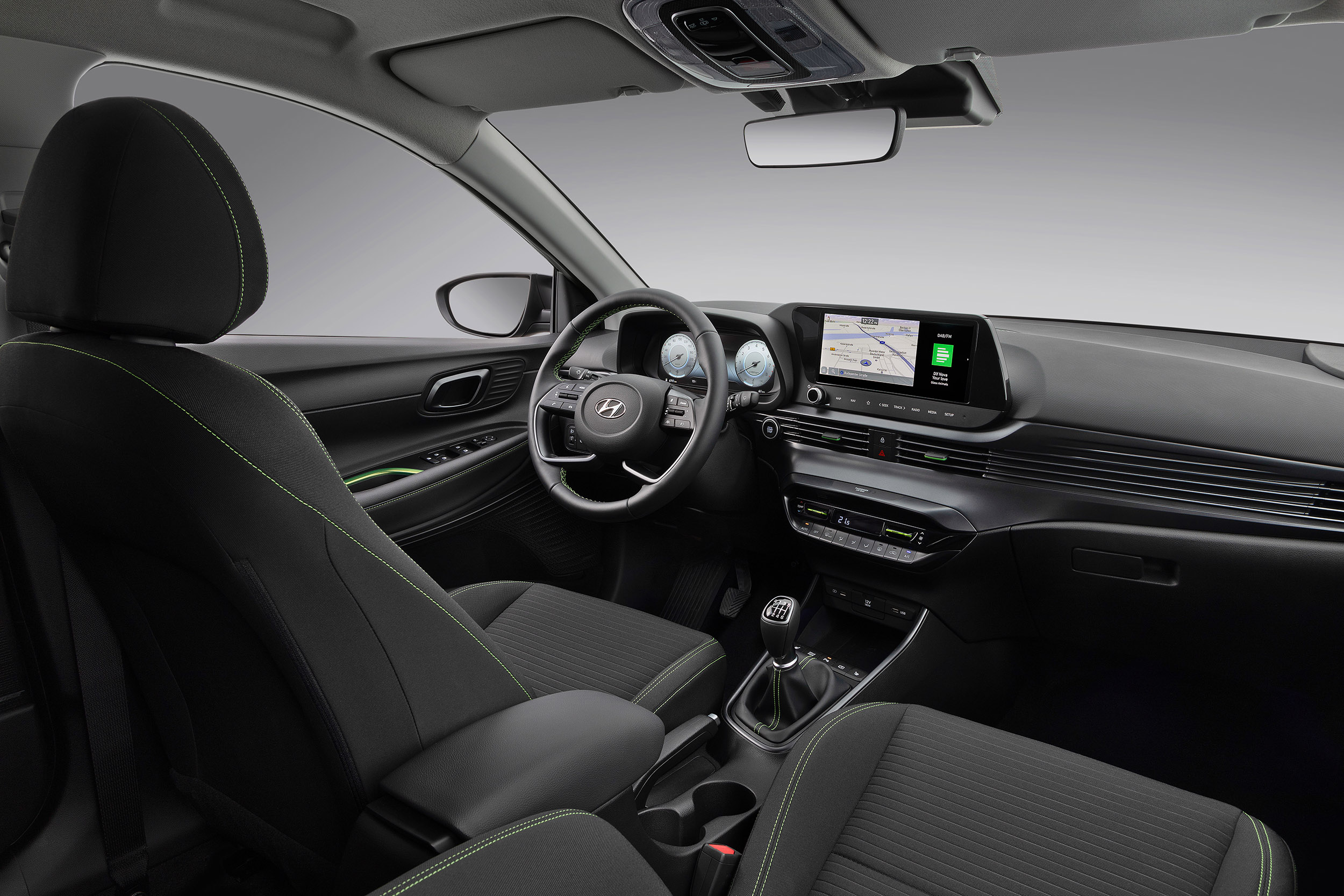 The all-new Hyundai i20 cockpit viewed from the passenger door