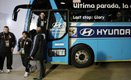 The 'Be There With Hyundai' selected message on Argentina National Team Bus