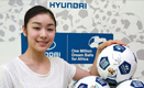 Hyundai Ambassador Yuna Kim, Gold Medalist of Figure Skating of Vancouver Winter Olympic 2010, shows one of the 'One Million Dream Balls for Africa'