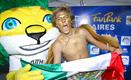 Mexican Football fan waving his National Flag with the official mascot ? Zakumi, at Hyundai Fan Park Buenos Aires